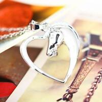 Heart Charm Horse Animal Pendant Necklace for Women Girls Jewelry Gifts Fashion