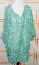 Nicole Richie Collection Print Button Front Sheer Blouse Turquoise 1X Boho Gypsy
