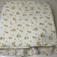 vintage bedspread coverlet white yellow floral print ruffled drop edge twin