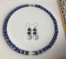 Fashion 8mm Blue & White South Sea Shell Pearl Necklaces Earrings Set AAA