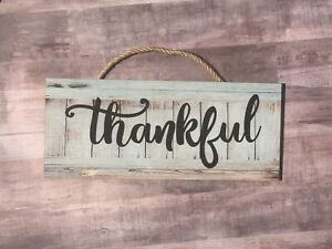 "Thankful Wooden Wall Sign.  Motivational, Home, House, Office  P222, 5""x12"""