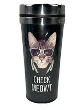 New Cat Kitty Coffee Travel Tumbler Mug With Lid. 14oz. Spill Proof Lid