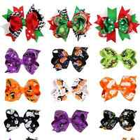2X Christmas Halloween Ribbon Bow Hair Clips Pins Barrette Party Cosplay Costume