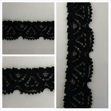 "2 yards of black scalloped embossed stretch lace trim. 1/2"" W S4-7 SHIP FROM USA"