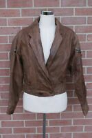 VINTAGE 80's CHIA Brown Leather Jacket Western Style Retro Boho Womens Size S