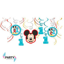 Mickey Mouse 1ST Birthday Party Supplies SWIRL DECORATIONS Pack Of 12