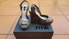 BNWT RMK Ladies Snake Leather Open Toe Platform Wedges/Heels Size: 37