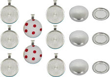 20 Pendant Kit DIY 23mm Self Covered Buttons Shiny Silver Pendants & Ball Chains