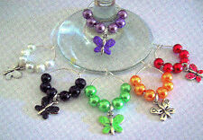 SET OF 6 WINE GLASS RINGS CHARMS WITH ENAMELLED BUTTERFLIES
