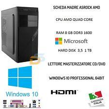 PC DESKTOP QUAD CORE AMD HD 1TB RAM 8GB HDMI MINI PC FISSO COMPLETO ASSEMBLATO