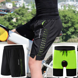 Mens MTB Shorts Undetachable Padded Liner Off Road BIcycle Baggy Cycling Shorts