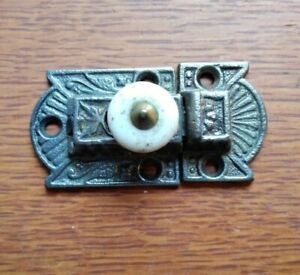 Antique Fancy Victorian Iron & Porcelain Cabinet Latch c1885