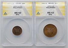 1904 Philippines Half 1/2 Centavo & 1 Centavo 2 Coins Both Graded MS 63 ANACS