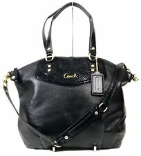 Coach Ashley North South Exotic Leather Satchel Shoulder Bag Black F23684 Snake