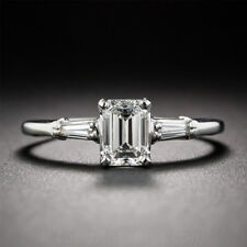 Unique 10K White Gold 1.50 CT White Emerald Moissanite Timeless Engagement Ring