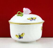 HEREND BEAUTIFUL SMALL  BUTTERFLY ROSE BUD BIRDS ON BRANCH SUGAR BOWL 1654 MINT