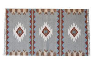 Wool Rug Natural Color Decor Rug Yoga Mat 3x5 ft. Beautiful Handmade Kilim Rug