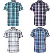 Soulcal & Co Mens Short Sleeve Check Shirt Fold Over Collar Front Pocket