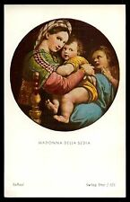 MADONNA DELLA SEDIA / PRIEST PHOTO -50 YEARS PRIEST JUBILEE Vtg 1951 HOLY CARD