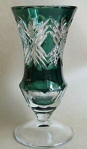 """VAL ST LAMBERT VINTAGE EMERALD GREEN CUT TO CLEAR 7¼"""" VASE (Ref6179)"""