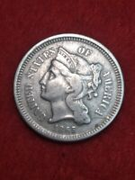 1865 Better Grade Clash die on reverse Philadelphia Mint Three Cent Nickel#55gfa