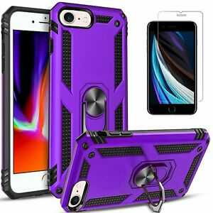For iPhone 7 8 Plus Case Ring Kickstand Dropproof Cover+Tempered Glass Protector
