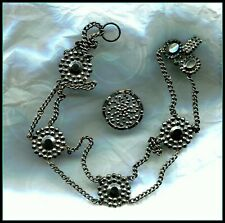 Ring At Top To Use As Pendant. Antique Cut Steel Necklace And Button With