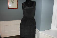 Ladies Anlo Black Tiered Silk Dress Size Small