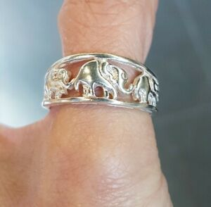 sterling silver elephant lucky band ring, thumb ring, elephant jewelry