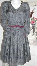 Traffic People Nostalgie  Dress  Kleid  Cotton / Silk  Grey    Size: L  Neu