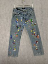 "Chimala Paint Splatter Embroidered Artisan Cropped Jeans Size 26 W29"" L25"" Japan"