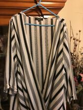 NEW LOOK INSPIRE SIZE 24 DEEP CROSSOVER TOP IN WHITE AND BLACK PART STRIPE