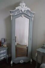 Single French Rococo Armoire In Mercury Grey & White - Handmade Single Wardrobe