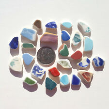 Genuine Nova Scotia Beach Sea Glass - 25 Small Colorful Ceramics / Pottery