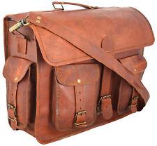 Bag Leather Men Goat Messenger Laptop Shoulder Vintage Briefcase Brown Real New