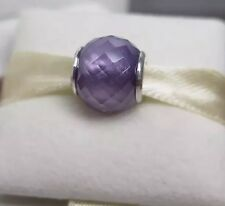 New w/Box Pandora Purple Petite Facets Murano Glass Charm 791499ACZ Lavender