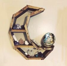 Rustic Crescent Moon Crystal Shelf- Handmade-