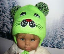 Winter Mütze Kindermütze  2 Bommeln innen Fleece 11 Varianten 2-5 Jahre Hündchen