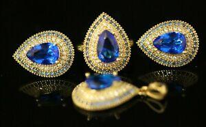 Sapphire Turkish Handmade Jewelry Sterling Silver 925 Ring Earring MerSet 6 10