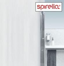 Spirella Twill White PVC TEXTURED STRIPES SHOWER CURTAIN Extra WIDE 240x180cm