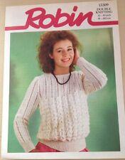 Vintage ROBIN Knitting Pattern ~ Women's DK Long Sleeve Sweater 32-40in(81-102cm
