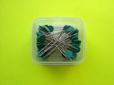 "50 Dritz Green Flower Head Pins - 1 3/4"" Long Shaft - 2 1/8"" Overall Length"