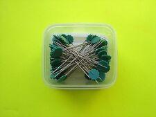"""100 Dritz Green Flower Head Pins - 1 3/4"""" Long Shaft - 2 1/8"""" Overall Length"""