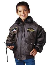 WWII Kids Aviator Flight Jacket W/ Insignia Patches And Map Lining