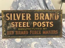 Silver brand steel post sign cardboard farming red brand fence