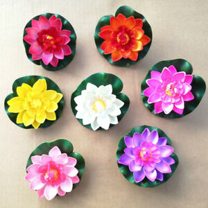 5/10x Artificial EVA Fake Lotus-Leaf Flower Water Lily Floating Pool Plant Decor