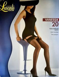 Levante Calze Vanessa 20 Denier Matt Stockings Black Large
