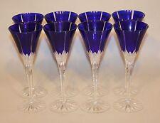 8 Ajka Hungary Albinka / Castille Cobalt Blue 8-3/4 Inch Wine Glasses Stems