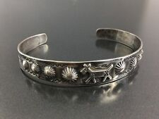 Vintage Southwestern Horse Sterling Silver Stampwork Repousse Bracelet Cuff