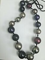 NECKLACE BY ACCESSORIZE PURPLE BEADED  J378 *